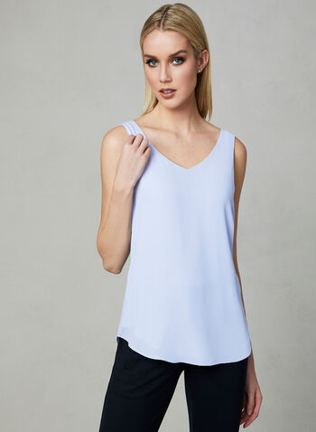 Sleeveless V-Neck Blouse, Grey, hi-res