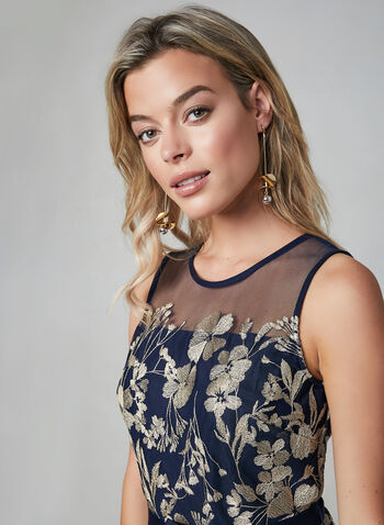 Glamour - Fit & Flare Mesh Dress, Blue, hi-res,  fall winter 2019, mesh, sleeveless, fit & flare dress, cocktail, party