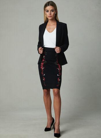 Floral Embroidery Wiggle Skirt, Black, hi-res,