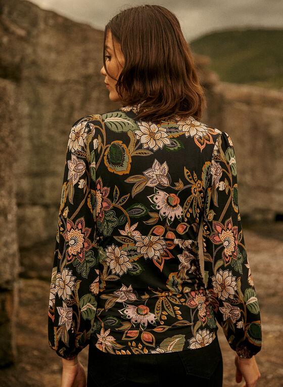 Floral Print V-Neck Top, Black