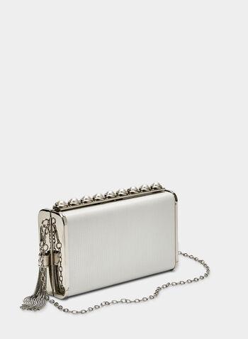 Pearl Detail Clutch, Silver, hi-res,  tassel, metallic, box clutch