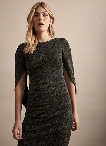 Drape Sleeves Glitter Dress, Black,  spring summer 2020, drape sleeves, boat neck, glitter knit, sheath silhouette, cocktail dress