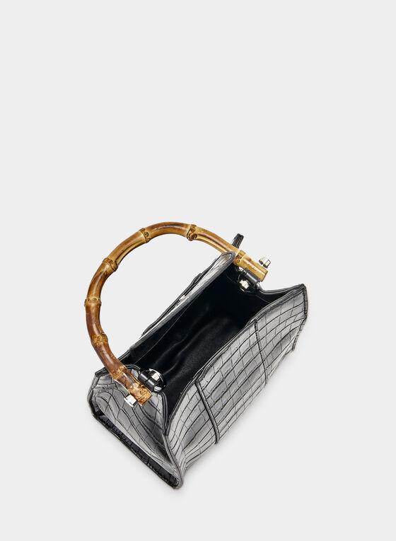Faux Crocodile Handbag, Black, hi-res