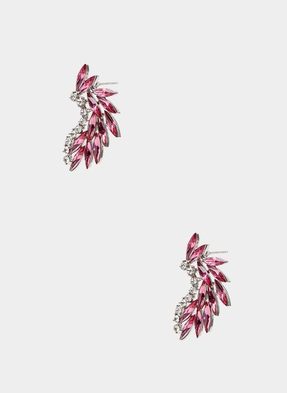 Stone & Crystal Earrings, Pink