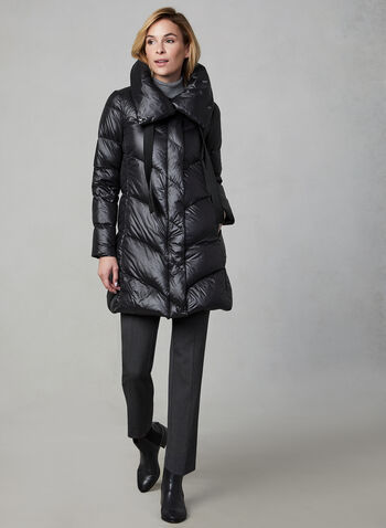 BCBGeneration - Oversized Collar Quilted Down Coat, Black, hi-res,  BCBGeneration, coat, down, quilted, oversized collar, long sleeves, zipper, fall 2019, winter 2019