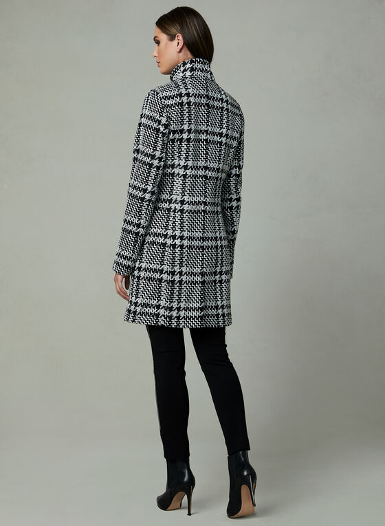 Cropped Tweed Coat, Black, hi-res