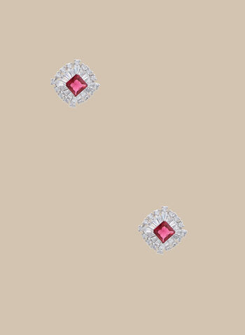 Rhinestone Stud Earrings, Pink,  earrings, stud earrings, metallic earrings, rhinestones, spring 2020, summer 2020
