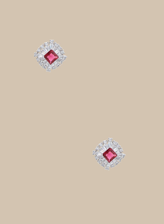 Rhinestone Stud Earrings, Pink