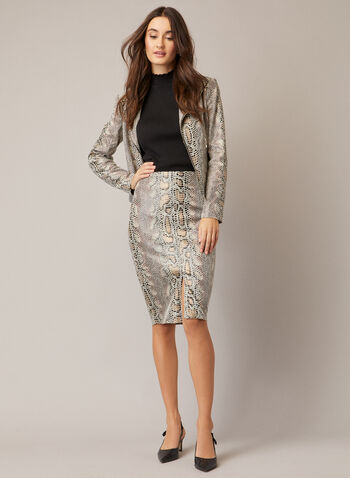Snakeskin Print Skirt, Brown,  fall winter 2020, skirt, pencil, knee length, snakeskin, slit,