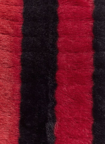 Chenille Faux Fur Tube Scarf, Red, hi-res