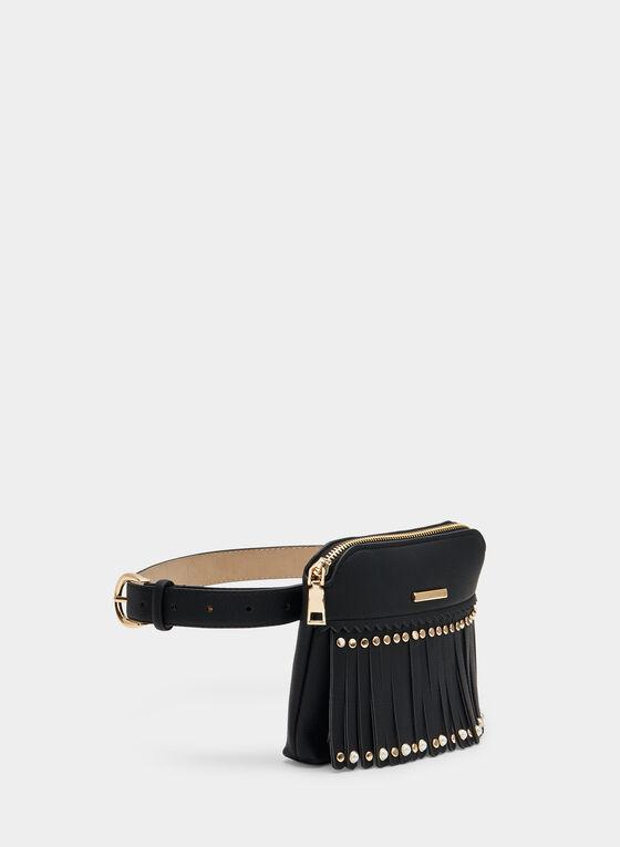 Fringe Belt Bag, Black, hi-res
