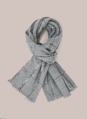 Plaid Print Fringe Scarf, Grey,  fall winter 2020, scarf, plaid print, fringe, fringed hem, acrylic