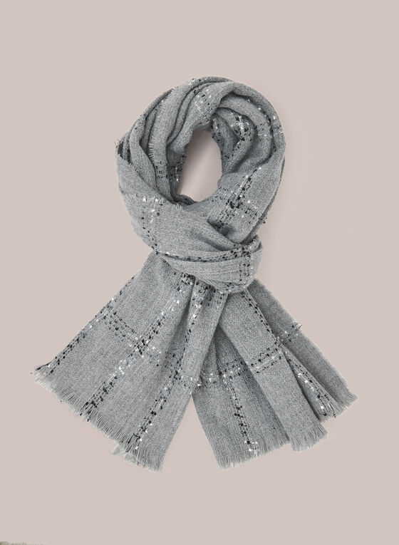 Plaid Print Fringe Scarf, Grey