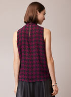 Houndstooth Print Sleeveless Blouse, Purple