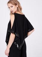 Sequin Trimmed Poncho Jumpsuit, Black, hi-res