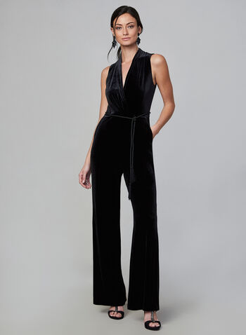 Vince Camuto - Sleeveless Velvet Jumpsuit, Black,  jumpsuit, wrap around, v-neck, velvet, sleeveless, tassel cord tie, vince camuto, fall 2019