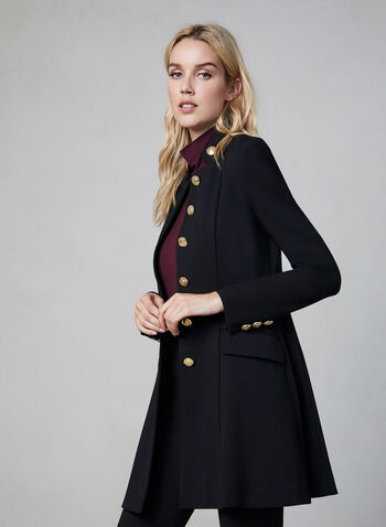Military Redingote Jacket, Black, hi-res,  stand collar, long sleeves, flared, long jacket, fall 2019, winter 2019, metallic buttons