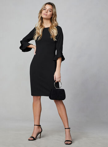 Karl Lagerfeld Paris - Tulip Sleeve Dress, Black,  karl lagerfeld, day dress, tulp sleeves, mid length, straight fit, boat neck, fall 2019, winter 2019