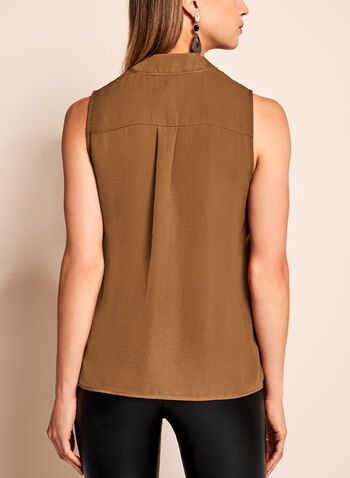 Sleeveless Tie Front Satin Blouse, Brown, hi-res