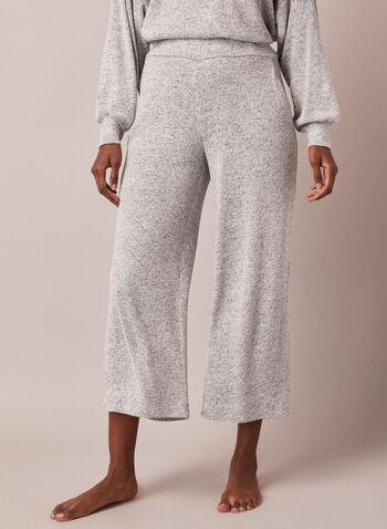Pantalon pull-on à jambe large , Gris,  fait au canada, pantalon, jambe large, gaucho, tricot doux, pull-on, élastique à la taille, poches