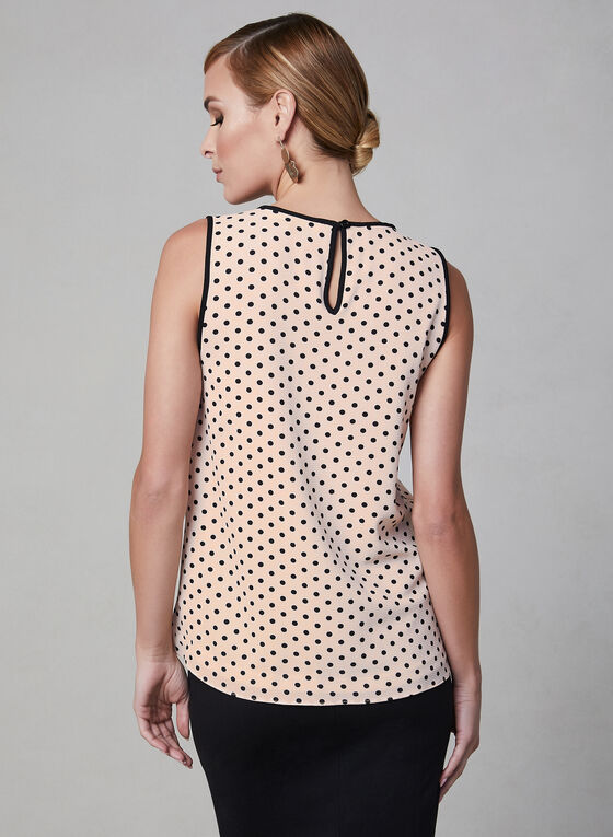 Polka Dot Print Sleeveless Blouse, Orange, hi-res
