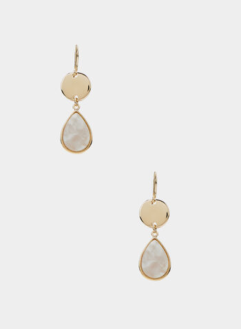 Teardrop Dangle Earrings, White, hi-res
