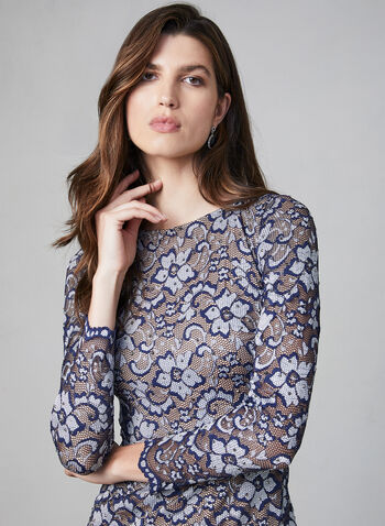 BA Nites - Robe fleurie en dentelle, Bleu,  robe cocktail, manches longues, dentelle, fleurs, strass, automne hiver 2019