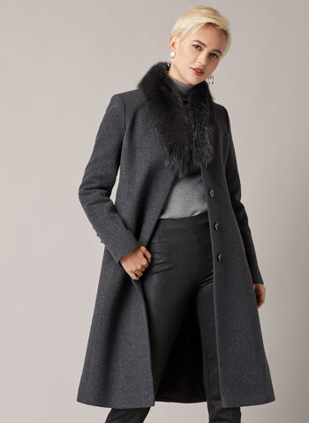 Mallia - Wool & Cashmere Coat, Grey,  coat, wool, cashmere, fur, fall winter 2020