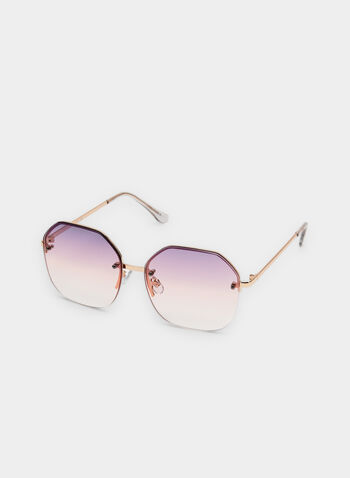 Round Wire Frame Sunglasses, Pink, hi-res,  spring 2019, floating lenses, gradient lenses