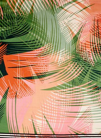 Square Palm Leaf Print Scarf, Green, hi-res