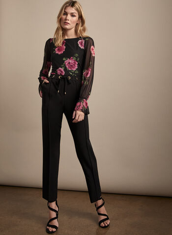 Floral Print Balloon Sleeve Top, Black,  top, floral, flowers, mesh, balloon sleeves, scoop neck, jersey, spring summer 2020
