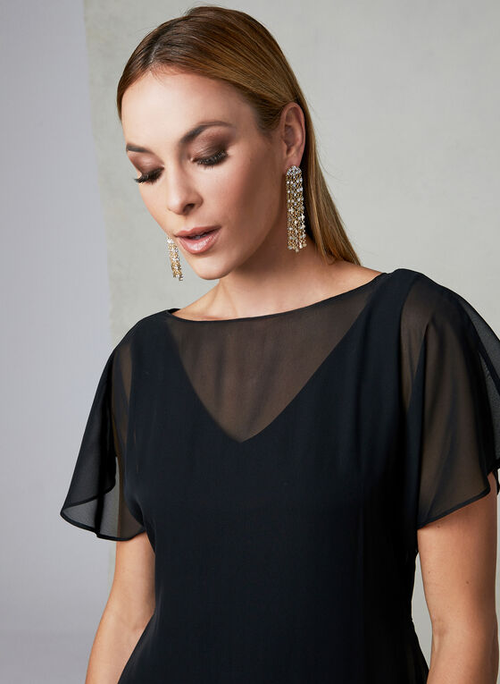 Adrianna Papell - Capelet Back Dress, Black