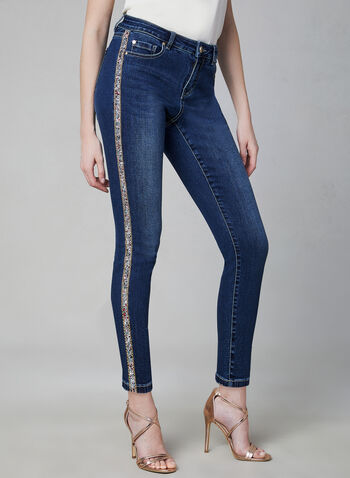 Crystal Trim Slim Leg Jeans, Blue, hi-res