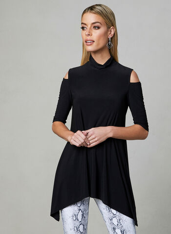 Asymmetric Cold Shoulder Top, Black, hi-res