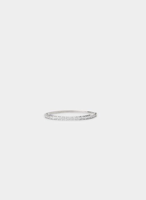 Hinge Bangle Bracelet , Silver