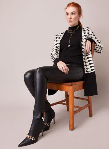 Cardigan à motif pied-de-poule, Noir,  automne hiver 2020, cardigan, tricot, ouvert, motif, pied-de-poule, manches longues, contrastant, blocs