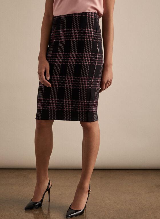 Plaid Print Pencil Skirt, Black