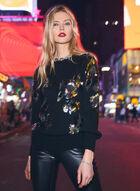 Sequin Embellished Sweater, Black