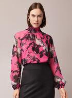 Floral Print Mock Neck Blouse, Multi