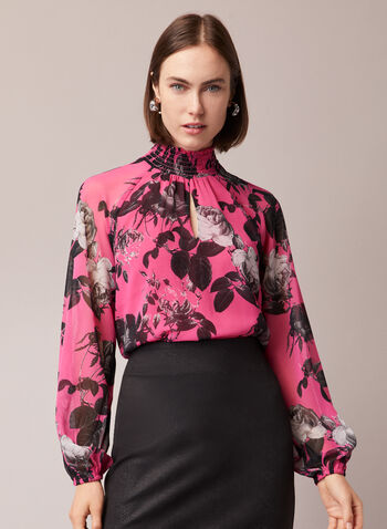 Floral Print Mock Neck Blouse, Multi,  blouse, balloon sleeves, floral, mock neck, fall winter 2020