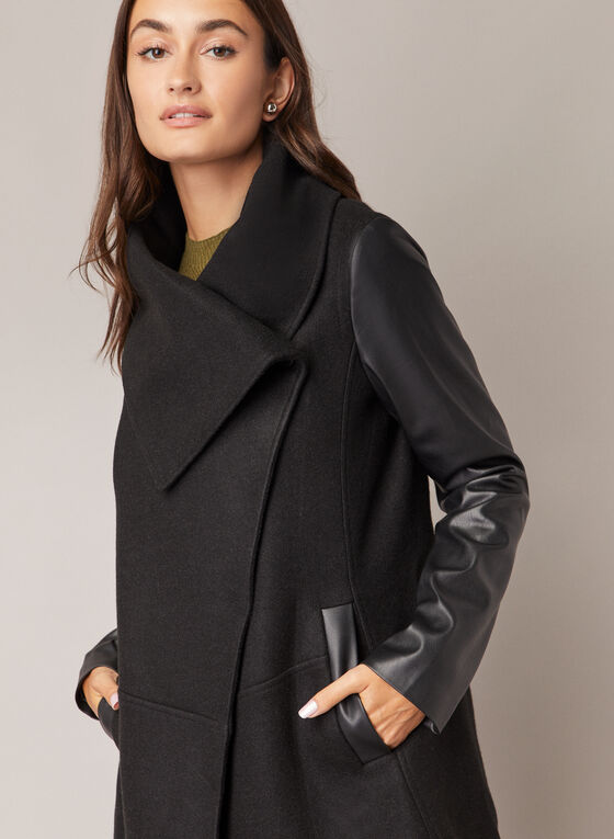 Wool & Vegan Leather Coat, Black