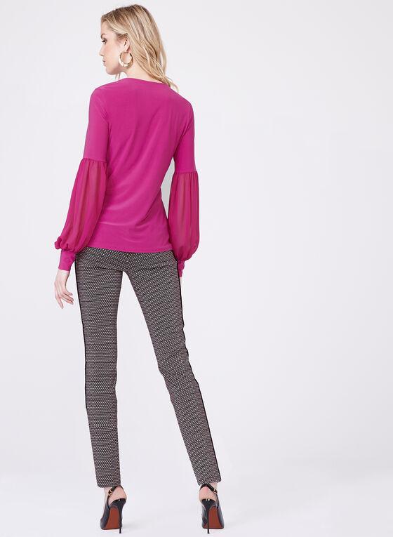 Haut mousseline et jersey à manches bouffantes, Violet, hi-res