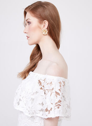 Frank Lyman - Off The Shoulder Lace Top, Off White, hi-res