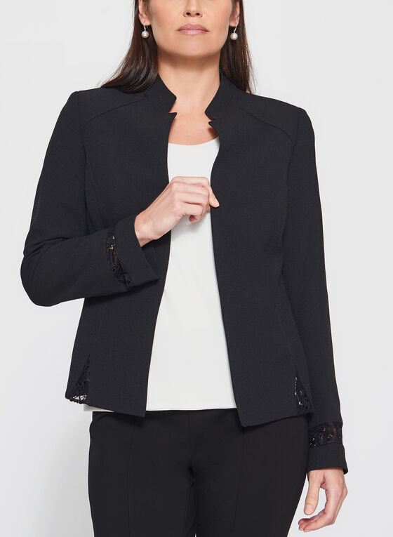 T Tahari - Lace Trim Open Front Blazer, Black, hi-res