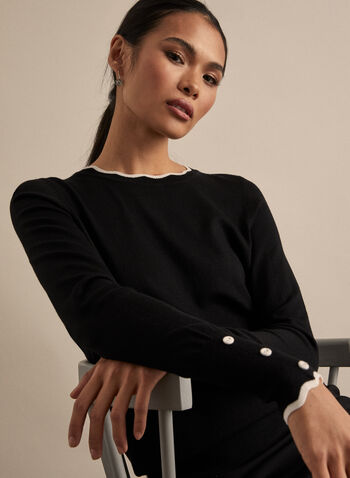 Contrast Trim Sweater, Black,  sweater, knit, contrast trim, scalloped, long sleeves, spring 2020