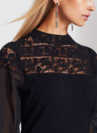 Lace Chiffon Detail Knit Blouse , Black, hi-res