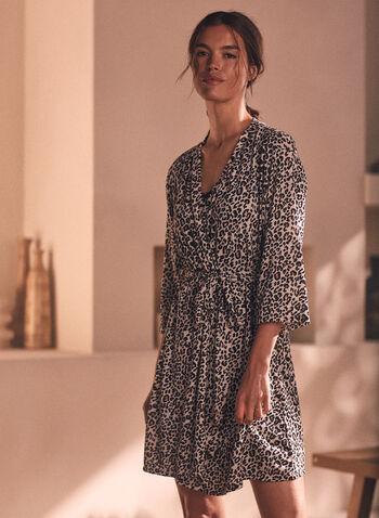 Ensemble robe de nuit et peignoir à motif léopard, Noir,  pyjama, ensemble, vêtements de nuit, deux pièces, motif léopard, imprimé, bretelles, dentelle, encolure dégagée, manches longues, robe de nuit, chemise de nuit, peignoir, ceinture, printemps été 2021