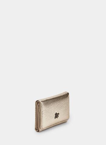 Portefeuille métallisé à détail abeille, Or,  portefeuille, abeille, métallisé, automne hiver 2019