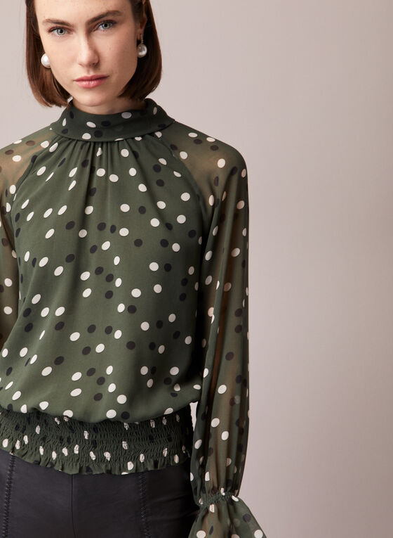 Dotted Print Ruffled Sleeve Blouse, Green