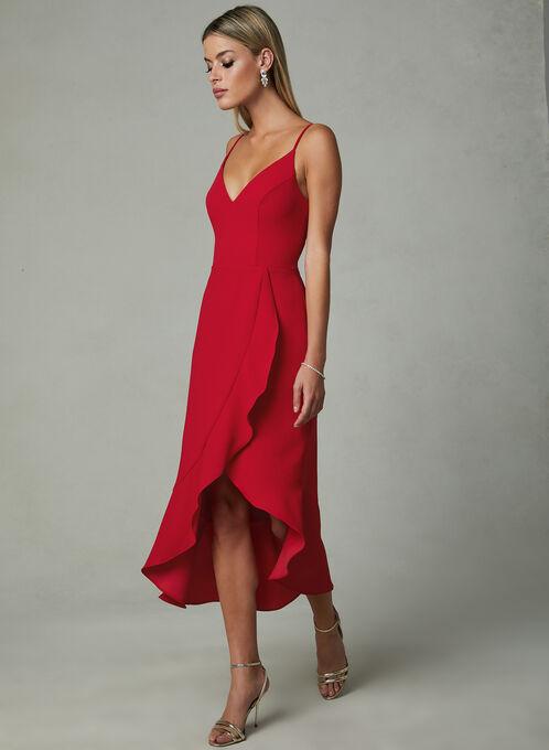 BA Nites - Faux Wrap Dress, Red, hi-res